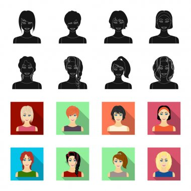 Types of female hairstyles black,flet icons in set collection for design. Appearance of a woman vector symbol stock web illustration.