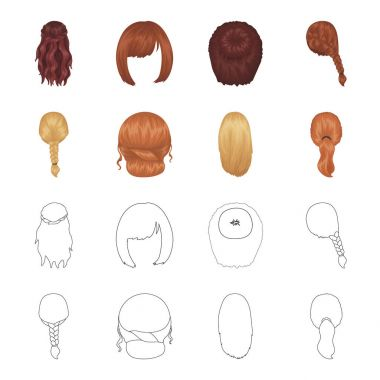 Light braid, fish tail and other types of hairstyles. Back hairstyle set collection icons in cartoon,outline style vector symbol stock illustration web.