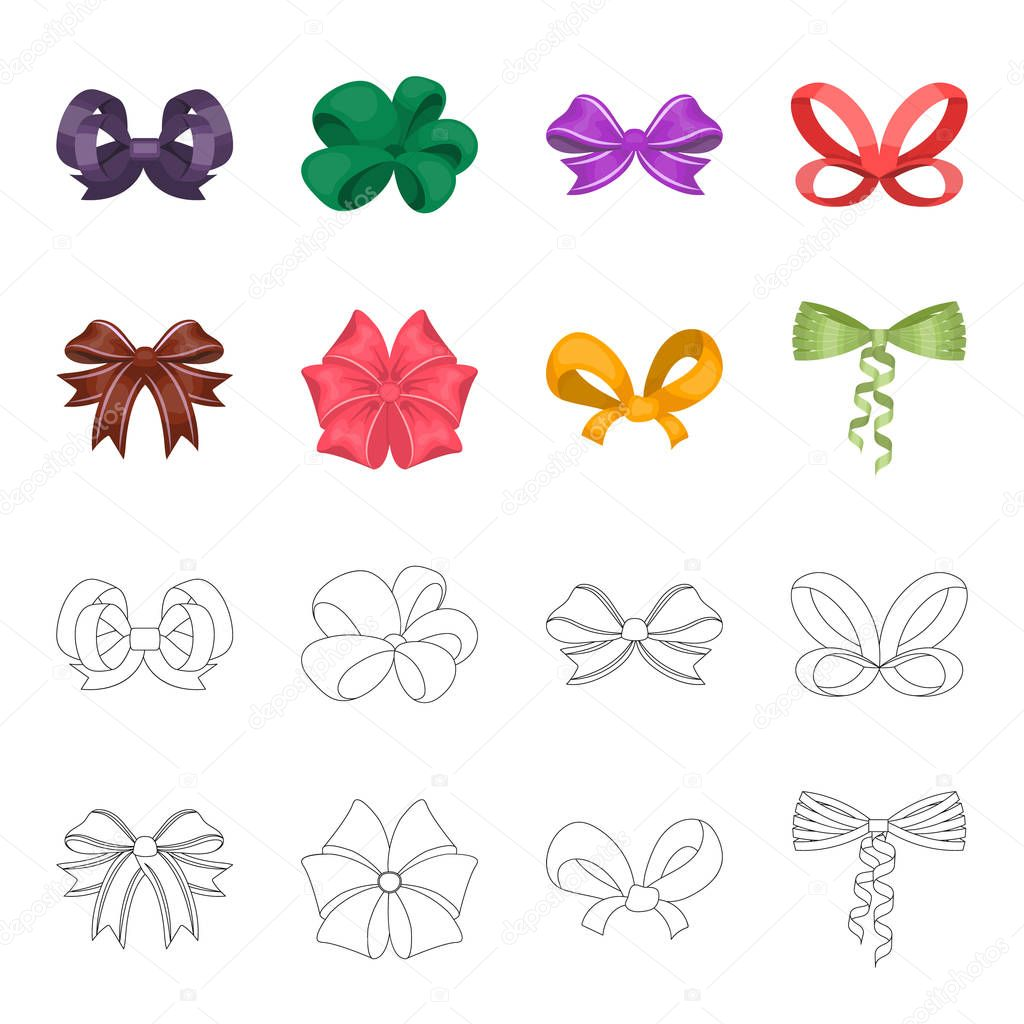 Bow, ribbon, decoration, and other web icon in cartoon,outline style. Gift, bows, node, icons in set collection.