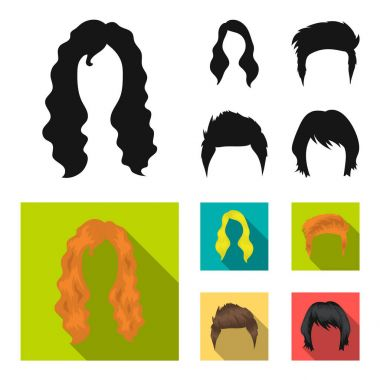 Mustache and beard, hairstyles black, flat icons in set collection for design. Stylish haircut vector symbol stock web illustration.