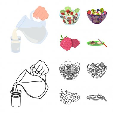 Fruit, vegetable salad and other types of food. Food set collection icons in cartoon,outline style vector symbol stock illustration web.