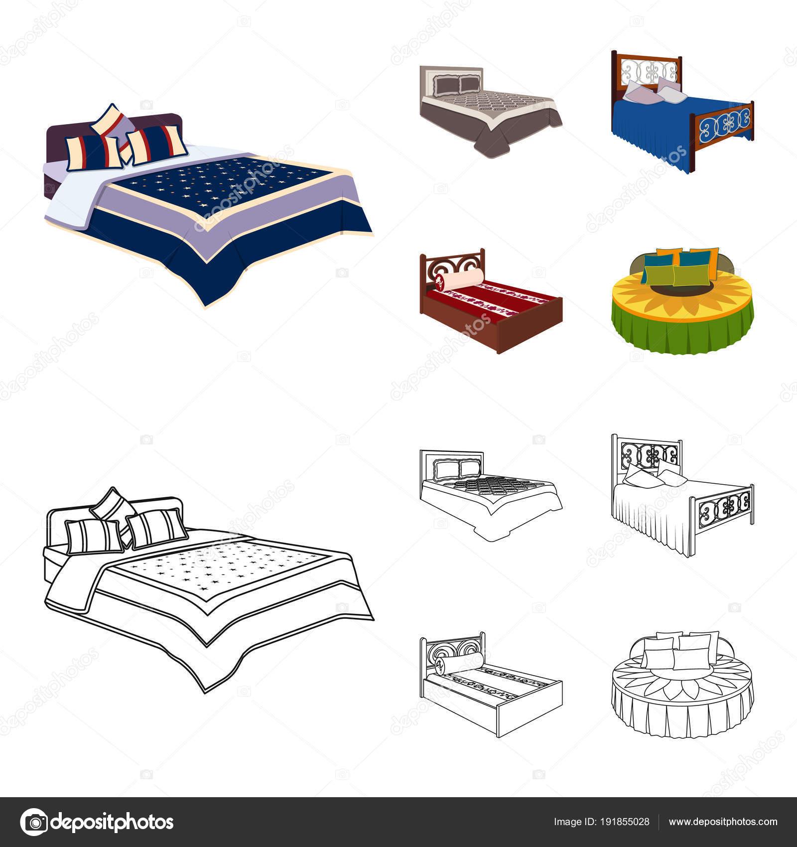 verschiedene betten cartoon gliederung symbole im set sammlung fur design mobel zum schlafen isometrische