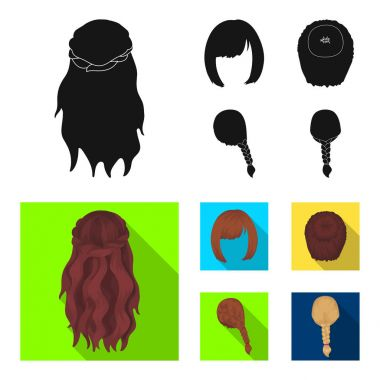 Kara, red braid and other types of hairstyles. Back hairstyle set collection icons in black, flat style vector symbol stock illustration web.