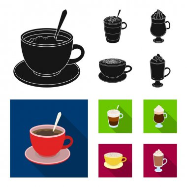 American, late, irish, cappuccino.Different types of coffee set collection icons in black, flat style vector symbol stock illustration web.