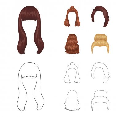 Long, red and other types of hairstyles. Back hairstyle set collection icons in cartoon,outline style vector symbol stock illustration web.