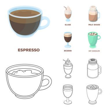 Esprecco, glase, milk shake, bicerin.Different types of coffee set collection icons in cartoon,outline style vector symbol stock illustration web.