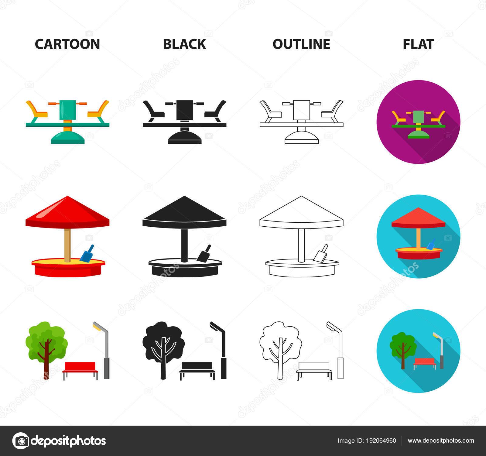 Carrossel caixa de areia parque triciclo parque infantil set parque infantil set coleo cones em desenhos animados preto contorno estilo plano vector smbolo conservado em estoque ilustrao vetor de ccuart Gallery