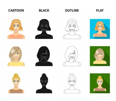 Types of female hairstyles cartoon,black,outline,flat icons in set collection for design. Appearance of a woman vector symbol stock web illustration.