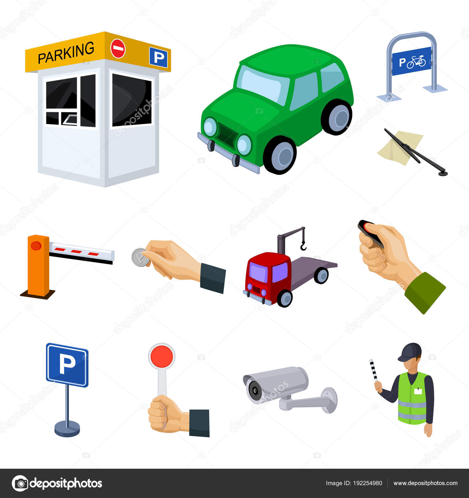 Parking For Cars Cartoon Icons In Set Collection For Design
