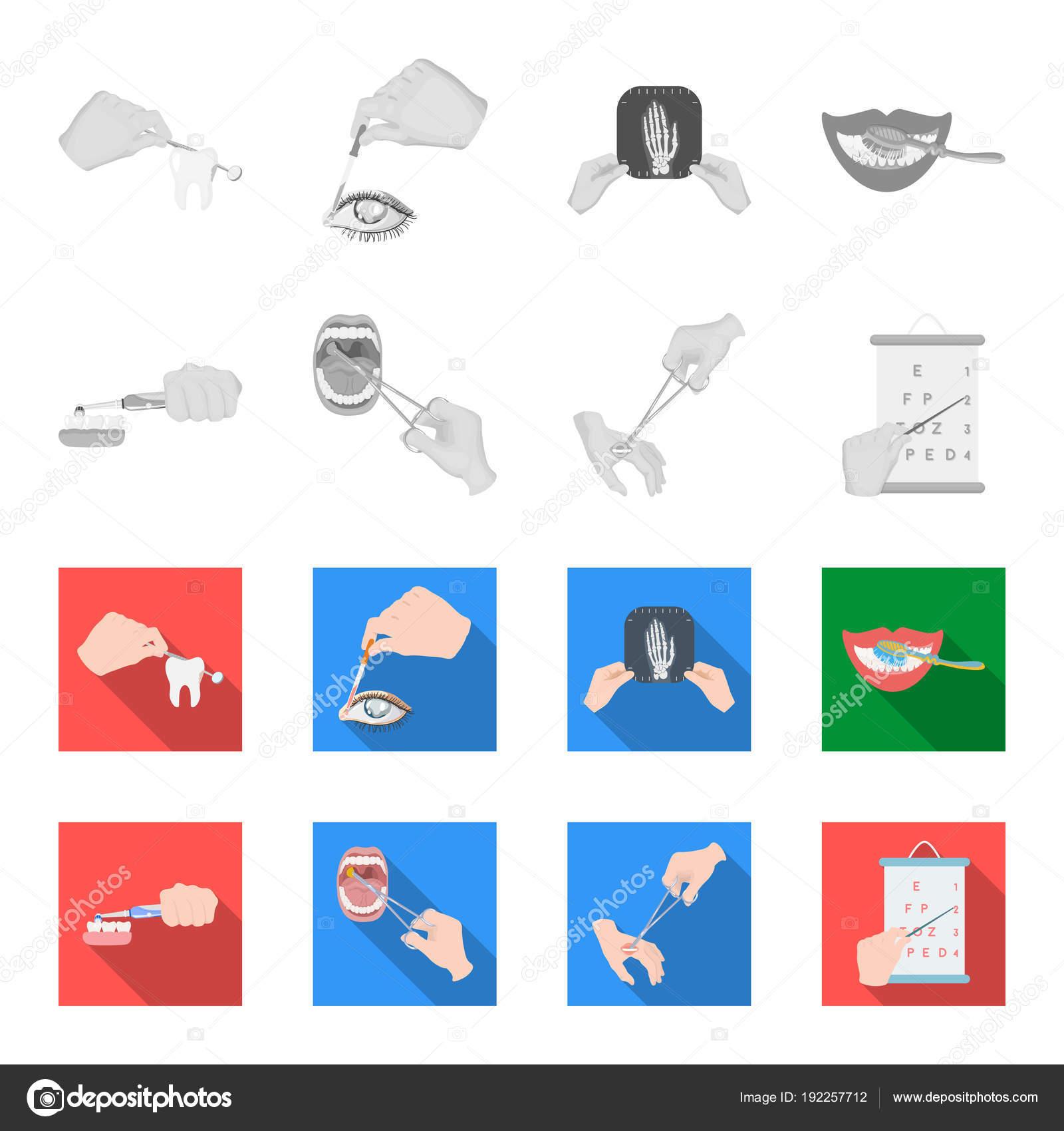 Soins dentaires, traitement des plaies et autre icône en monochrome,  traitement style.oral plat, acuité visuelle, test des icônes dans la  collection de jeu ... f8c1e44274fb
