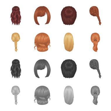 Light braid, fish tail and other types of hairstyles. Back hairstyle set collection icons in cartoon,monochrome style vector symbol stock illustration web.