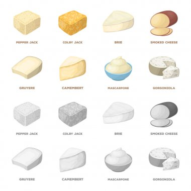Gruyere, camembert, mascarpone, gorgonzola.Different types of cheese set collection icons in cartoon,monochrome style vector symbol stock illustration web.