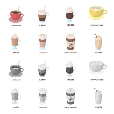 Mocha, macchiato, frappe, take coffee.Different types of coffee set collection icons in cartoon,monochrome style vector symbol stock illustration web.