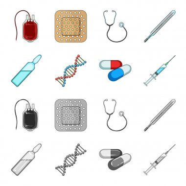 Human DNA and other equipment.Medicine set collection icons in cartoon,monochrome style vector symbol stock illustration web.