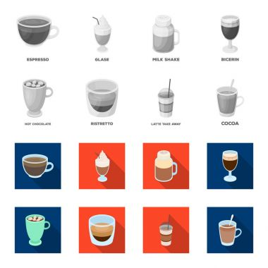 Ristretto, hot chocolate, latte take-away.Different types of coffee set collection icons in monochrome,flat style vector symbol stock illustration web.