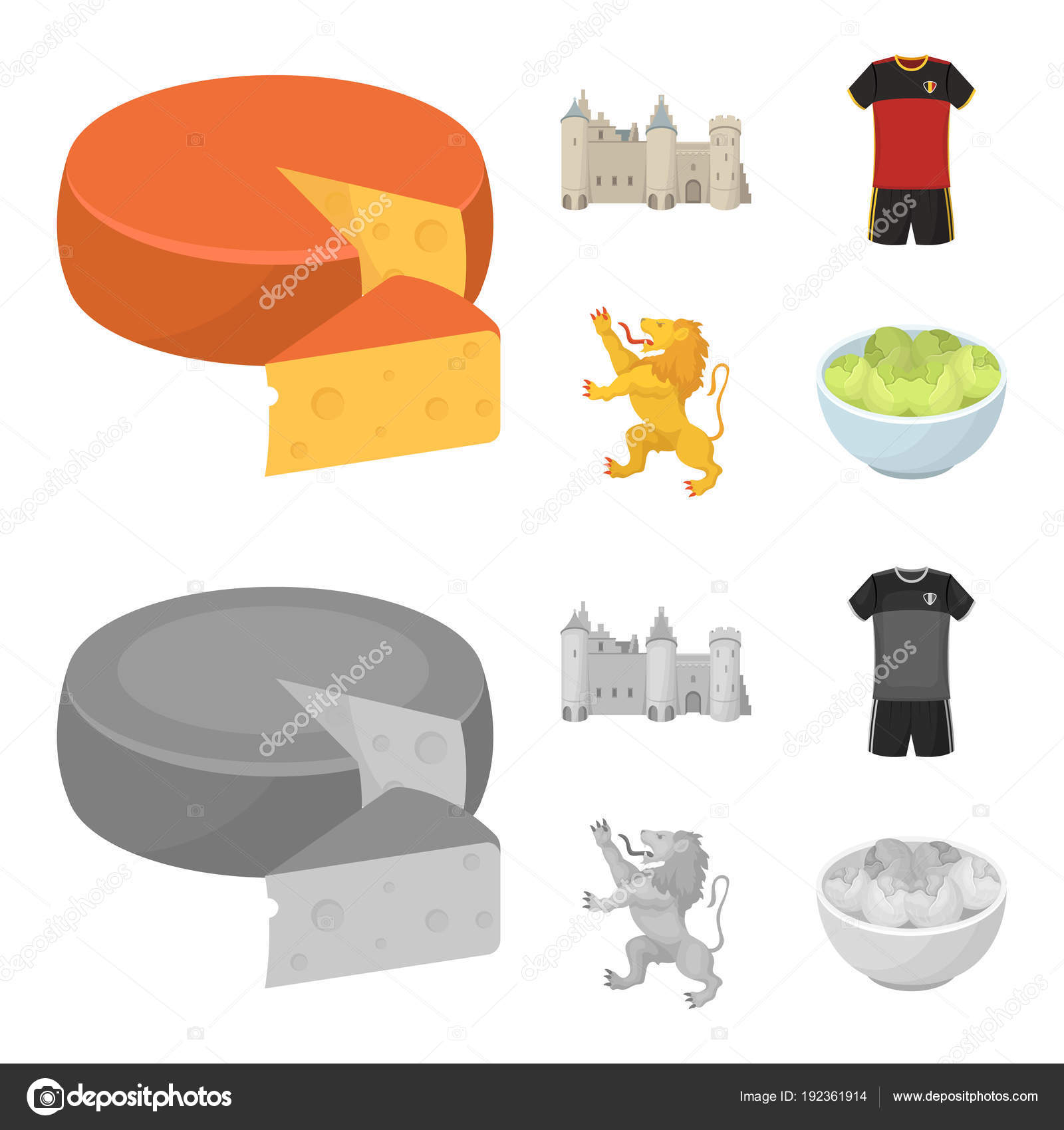 Cheese Lion And Other Symbols Of The Countrylgium Set Collection