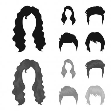 Mustache and beard, hairstyles black,monochrom icons in set collection for design. Stylish haircut vector symbol stock web illustration.