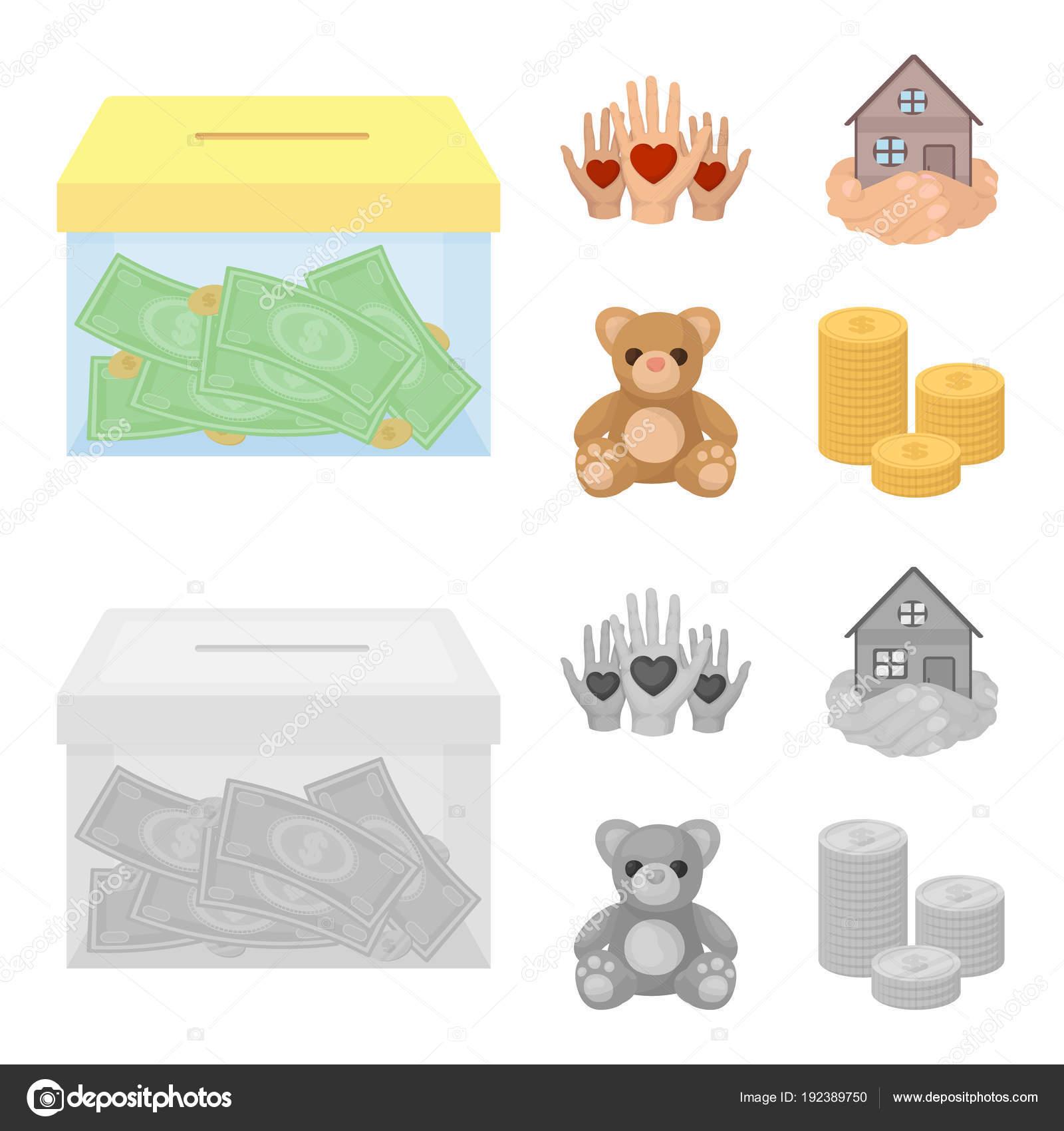 Boxe de verre grâce à des dons les mains avec des coeurs maison en mains ours en peluche pour la charité charité et don figurant icônes collection