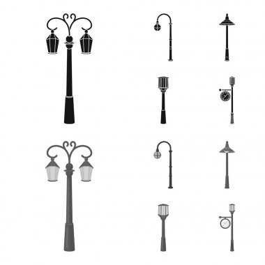 Lamppost in retro style,modern lantern, torch and other types of streetlights. Lamppost set collection icons in black,monochrom style vector symbol stock illustration web.