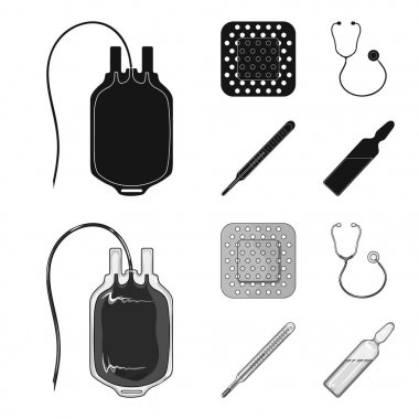 Package with donor blood and other equipment.Medicine set collection icons in black,monochrom style vector symbol stock illustration web.
