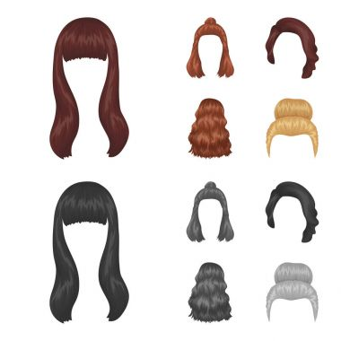 Long, red and other types of hairstyles. Back hairstyle set collection icons in cartoon,monochrome style vector symbol stock illustration web.