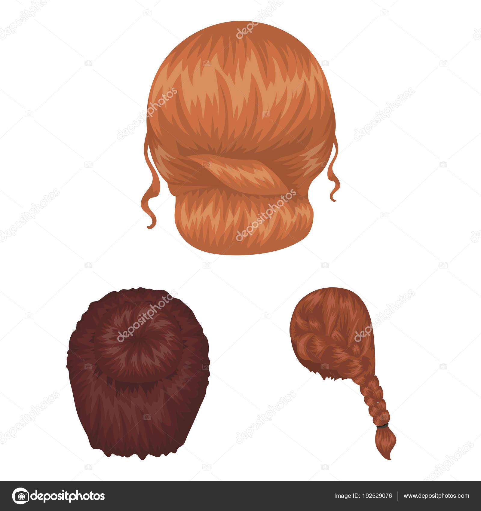 ícones Dos Desenhos Animados De Penteado Feminino Na Coleção