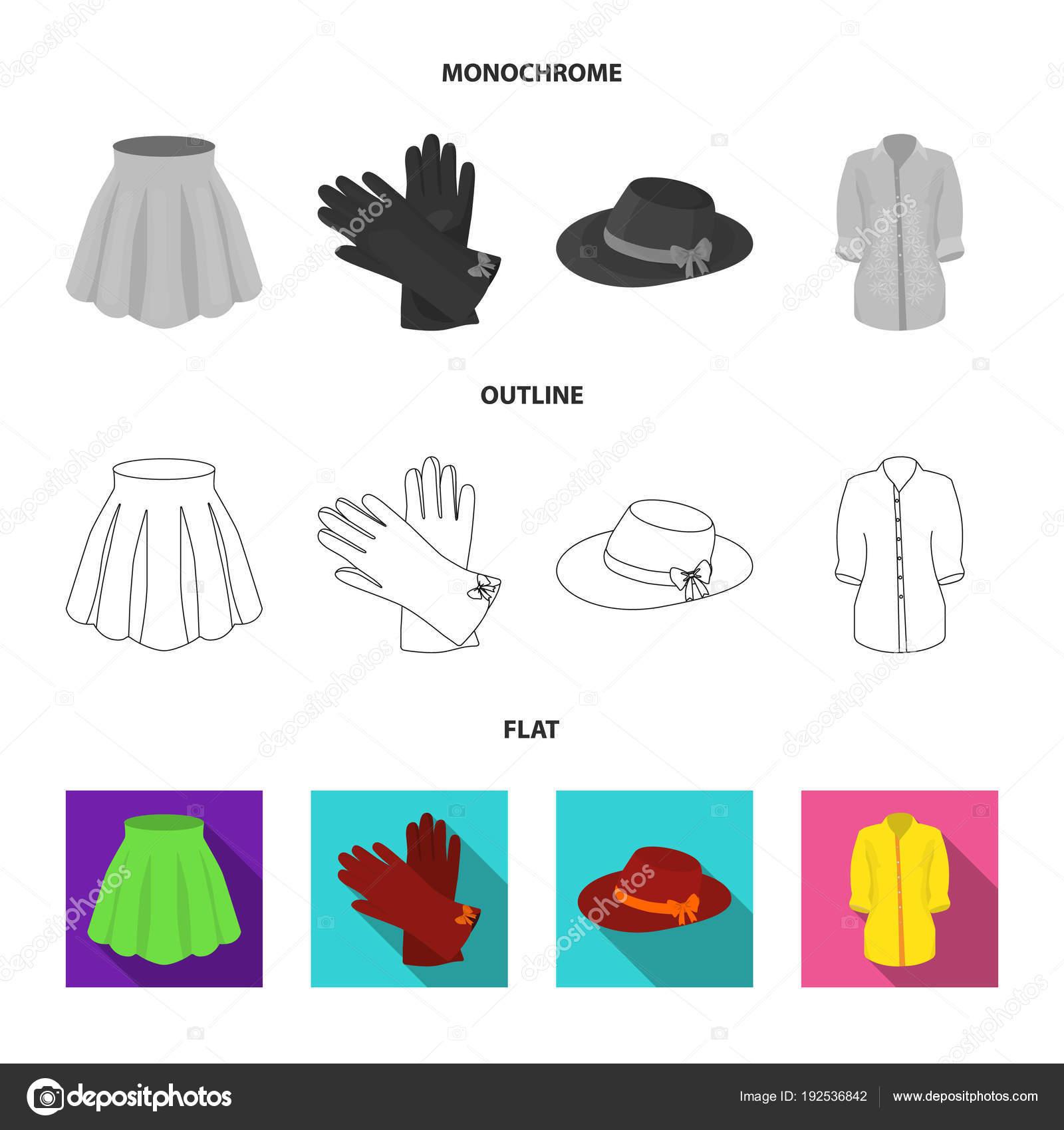 Abbigliamento donna imposta icone raccolta nel piatto 85ec2f1a0191