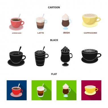 American, late, irish, cappuccino.Different types of coffee set collection icons in cartoon,black,flat style vector symbol stock illustration web.