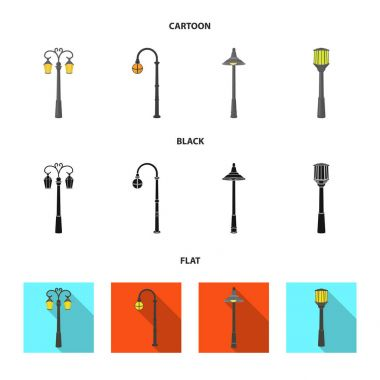 Lamppost in retro style,modern lantern, torch and other types of streetlights. Lamppost set collection icons in cartoon,black,flat style vector symbol stock illustration web.