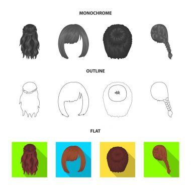 Light braid, fish tail and other types of hairstyles. Back hairstyle set collection icons in flat,outline,monochrome style vector symbol stock illustration web.