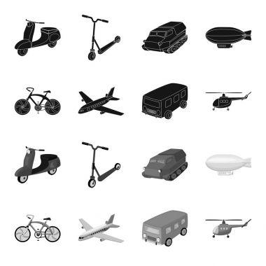 Bicycle, airplane, bus, helicopter types of transport. Transport set collection icons in black,monochrome style vector symbol stock illustration web.