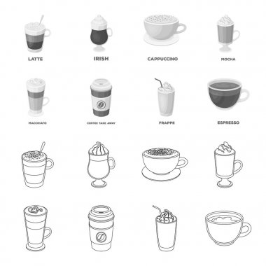 Mocha, macchiato, frappe, take coffee.Different types of coffee set collection icons in outline,monochrome style vector symbol stock illustration web.