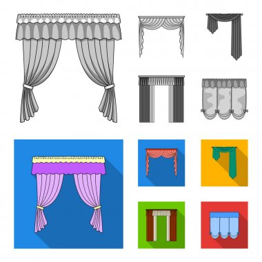 Different types of window curtains.Curtains set collection icons in monochrome,flat style vector symbol stock illustration web.