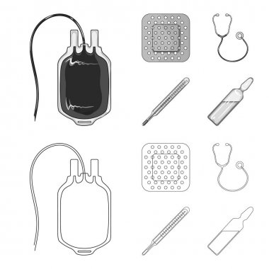 Package with donor blood and other equipment.Medicine set collection icons in outline,monochrome style vector symbol stock illustration web.