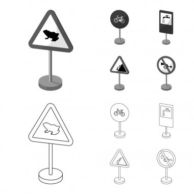 Different types of road signs outline,monochrome icons in set collection for design. Warning and prohibition signs vector symbol stock web illustration.