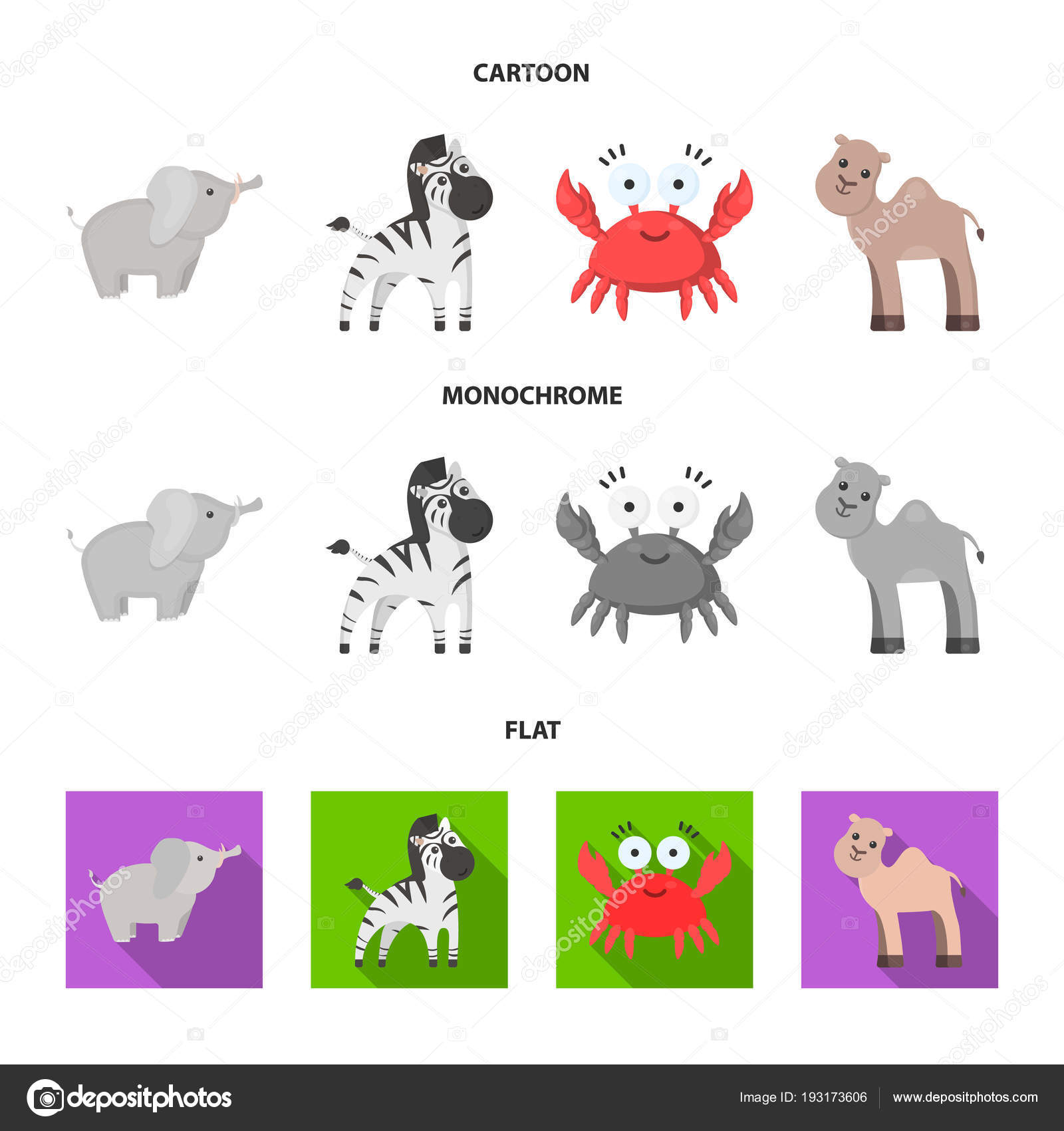 Nerealisticke Kreslene Vtipy Plochy Monochromaticky Zvirat Ikony V