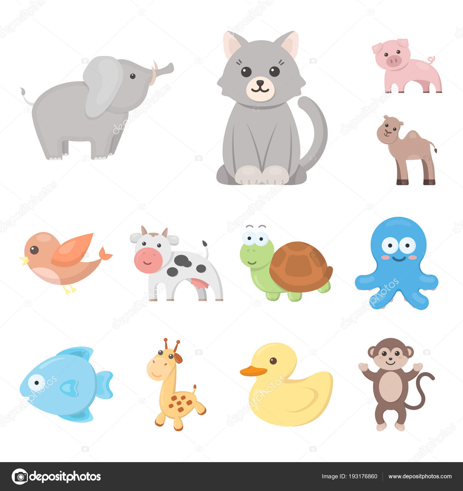 An Unrealistic Cartoon Animal Icons In Set Collection For Design