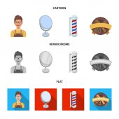 Male hairdresser, sign, mirror and other equipment for a hairdresser.Barbershop set collection icons in cartoon,flat,monochrome style vector symbol stock illustration web.
