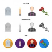 A granite tombstone with an inscription, a mourning candle, a pasteur, a priest, mourning roses. Funeral ceremony set collection icons in cartoon,flat,monochrome style vector symbol stock illustration