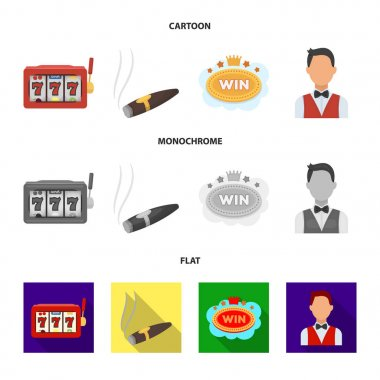 A gaming machine a one-armed bandit, a cigar with smoke, a five-star hotel sign, a dilettante in a vest. Casinos and gambling set collection icons in cartoon,flat,monochrome style vector symbol stock