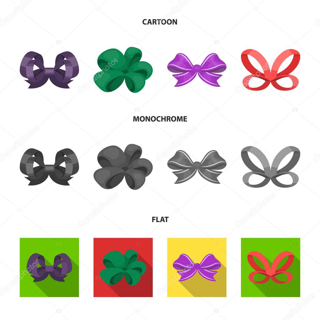 Ornamentals, frippery, finery and other web icon in cartoon,flat,monochrome style.Bow, ribbon, decoration, icons in set collection.