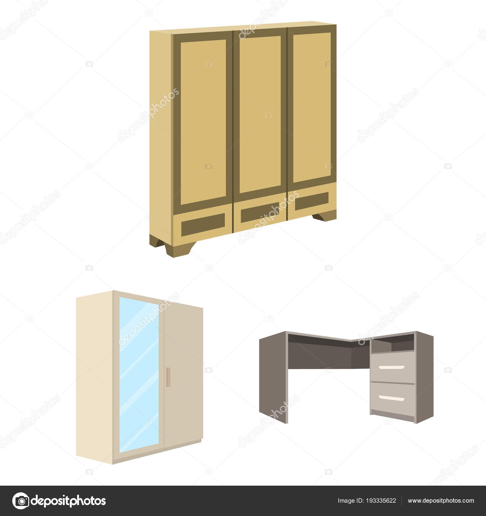 Schlafzimmer Möbel Cartoon Symbole Im Set Sammlung Für Design. Moderne  Holzmöbel Isometrische Symbol Lager Web