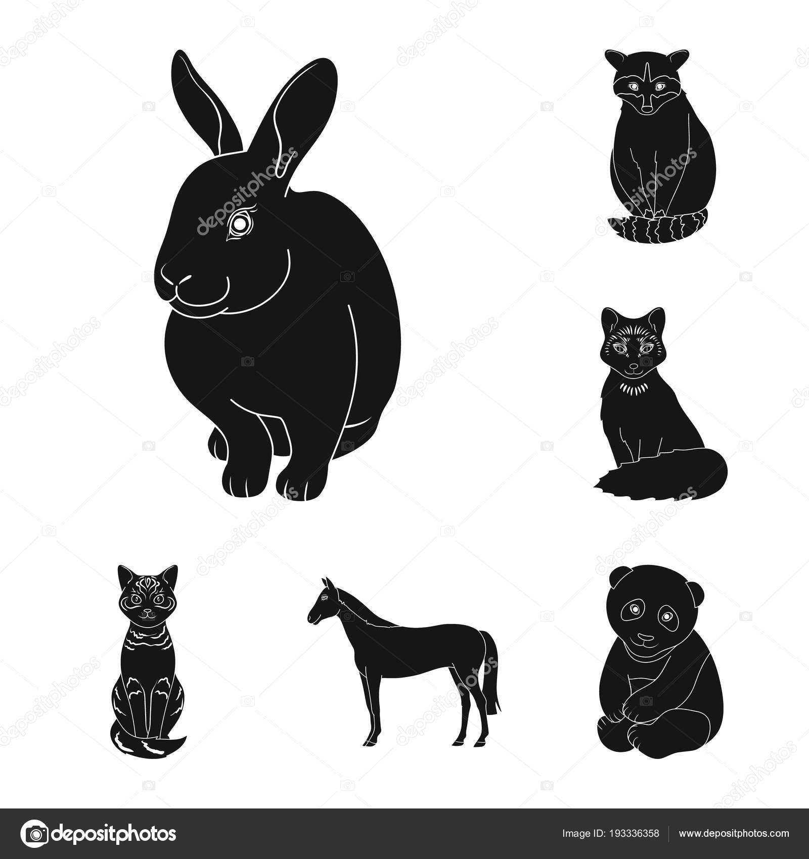 リアルな動物は黒いデザインのセットのコレクションのアイコンです。野生