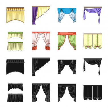 Different types of window curtains.Curtains set collection icons in black,cartoon style vector symbol stock illustration web.