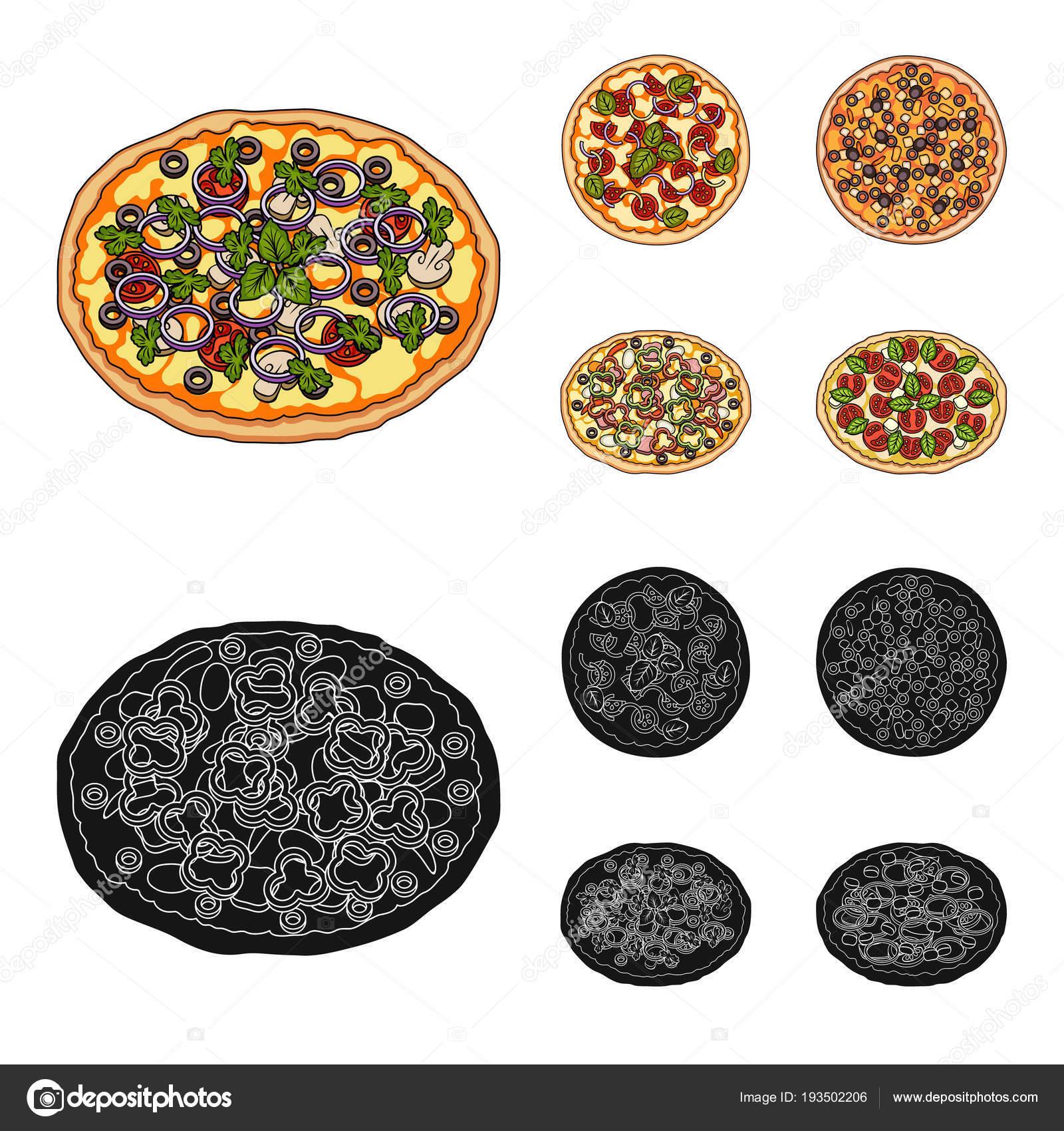 Pizza con carne, queso y otros relleno. Pizza diferente sistema los ...