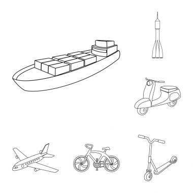 Different types of transport outline icons in set collection for design. Car and ship vector symbol stock web illustration.