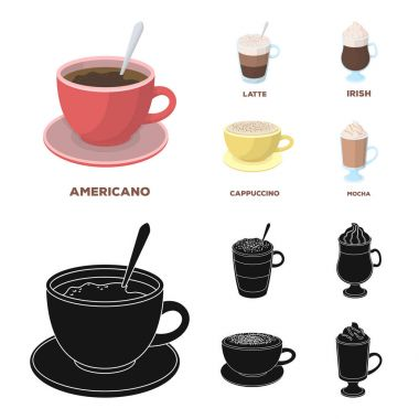 American, late, irish, cappuccino.Different types of coffee set collection icons in cartoon,black style vector symbol stock illustration web.