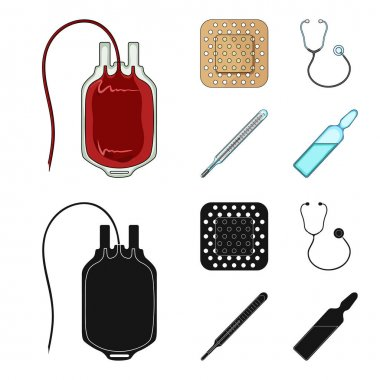 Package with donor blood and other equipment.Medicine set collection icons in cartoon,black style vector symbol stock illustration web.