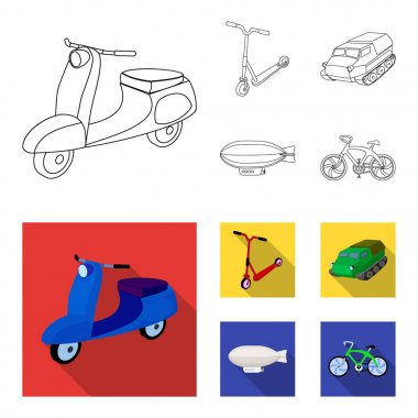Motorcycle, scooter, armored personnel carrier, aerostat types of transport. Transport set collection icons in outline,flat style vector symbol stock illustration web.
