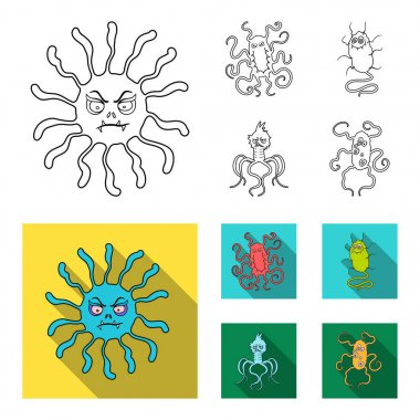 Different types of microbes and viruses. Viruses and bacteria set collection icons in outline,flat style vector symbol stock illustration web.